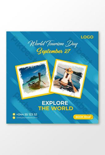 세계 관광의 날 소셜 미디어 게시물 및 여행 소셜 미디어 게시물 템플릿 PSD