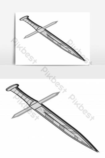 espada vintage y de lujo hecha de acero elemento gráfico vectorial Elementos graficos Modelo EPS