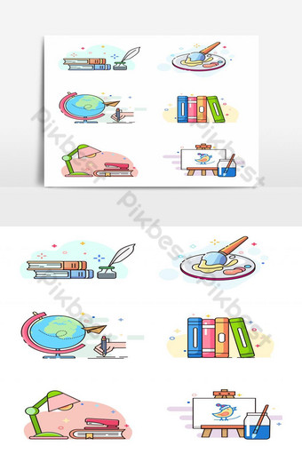 Set of knowledge element. Subject for study, art, books, earth, drawing Vector Graphic Element PNG Images Template EPS