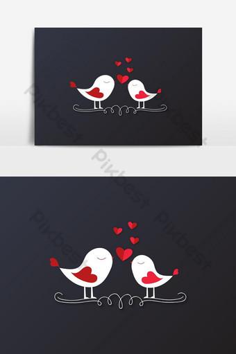 elemento gráfico de vector lindo pájaros románticos amor Elementos graficos Modelo AI