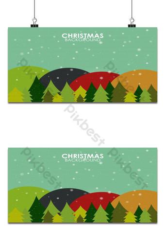 paisaje de diseño plano de temporada de invierno con fondo de árbol de navidad feliz año nuevo Fondos Modelo AI