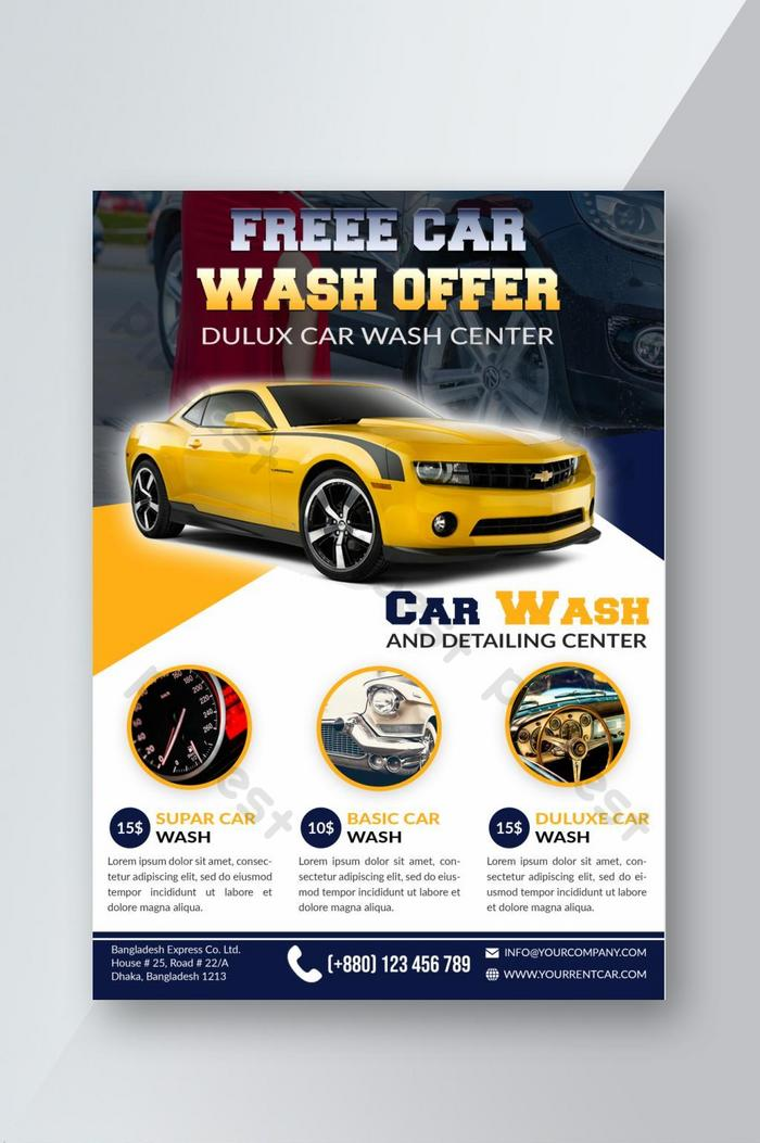 Stylish Car Wash Flyer Templates Psd