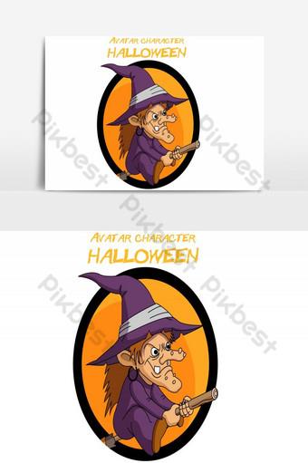 feliz halloween avatar dama asistente vector elemento gráfico Elementos graficos Modelo AI