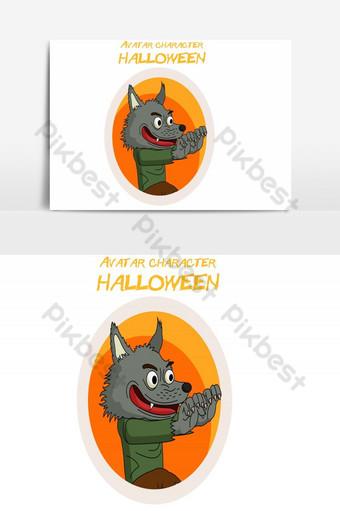 feliz halloween avatar lobo vector elemento gráfico Elementos graficos Modelo AI