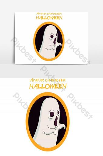 feliz halloween avatar elemento gráfico de vector espeluznante Elementos graficos Modelo AI