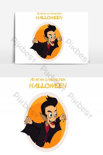feliz halloween avatar elemento gráfico de vector masculino Elementos graficos Modelo AI