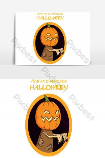 feliz halloween avatar calabaza vector elemento gráfico Elementos graficos Modelo AI
