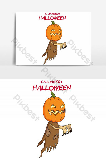 feliz halloween avatar elemento gráfico de vector de calabaza voladora Elementos graficos Modelo AI