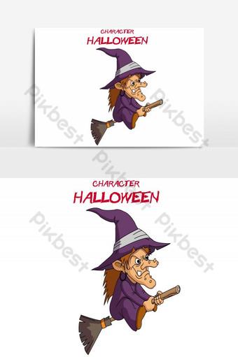 feliz halloween avatar volando dama mago vector elemento gráfico Elementos graficos Modelo AI