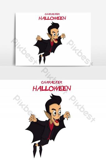 feliz halloween avatar niño volador mago vector elemento gráfico Elementos graficos Modelo AI