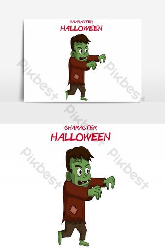 feliz halloween avatar caminando elemento gráfico vectorial zombie verde Elementos graficos Modelo AI