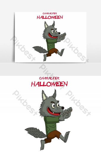 feliz halloween avatar corriendo lobo vector elemento gráfico Elementos graficos Modelo AI