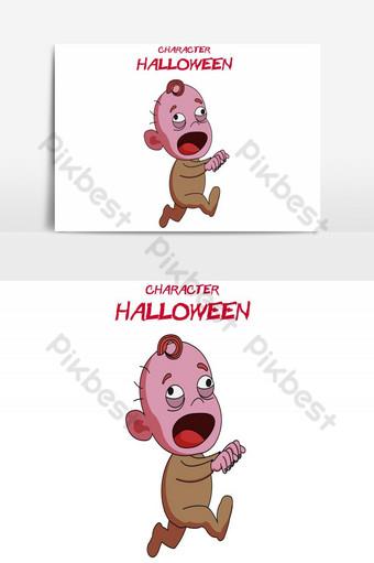 feliz halloween avatar bebé corriendo elemento gráfico vectorial Elementos graficos Modelo AI