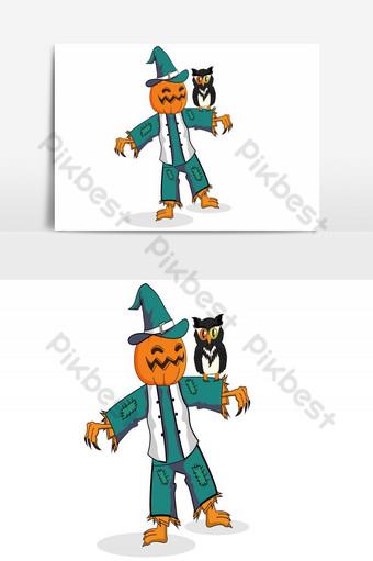 feliz halloween avatar muñeca vector elemento gráfico Elementos graficos Modelo AI