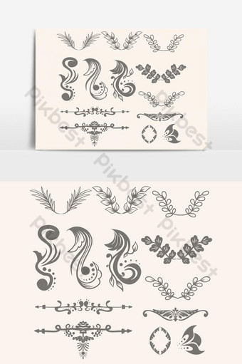 elemento gráfico de vector de colección de adornos florales Elementos graficos Modelo EPS