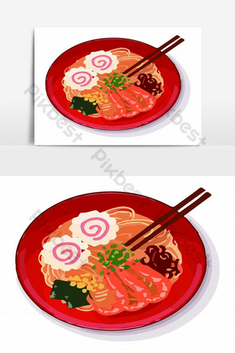 Delicious Japanese Ramen noodle fresh with shrimp and miso soup Vector Graphic Element PNG Images Template EPS