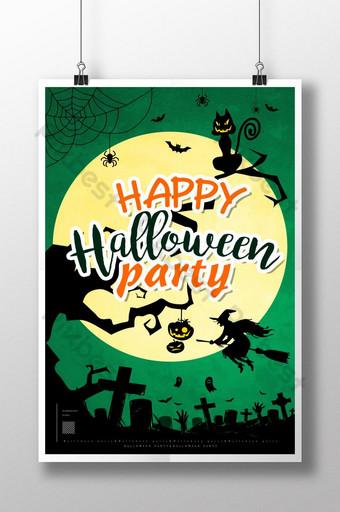 diseño de cartel negro de rama de árbol de gato de halloween Modelo PSD