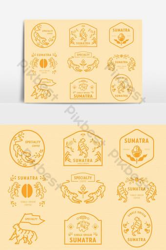 insignia del logotipo de sumatra coffeeeeeee con elemento gráfico de vector de tigre Elementos graficos Modelo EPS