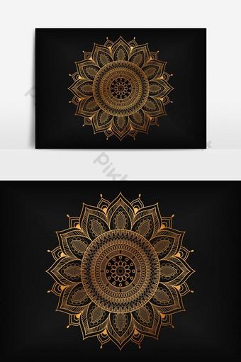 elemento gráfico de vector redondo de patrón de mandala oriental decorativo vintage Elementos graficos Modelo EPS