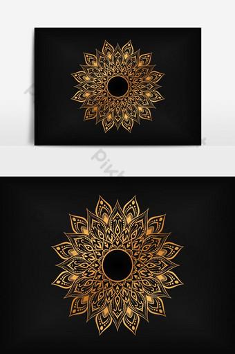 patrón redondo en forma de mandala para elemento gráfico de vector de tatuaje de henna mehndi Elementos graficos Modelo EPS