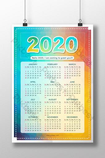 Conception créative de l'affiche géométrique du calendrier 2020 Modèle PSD