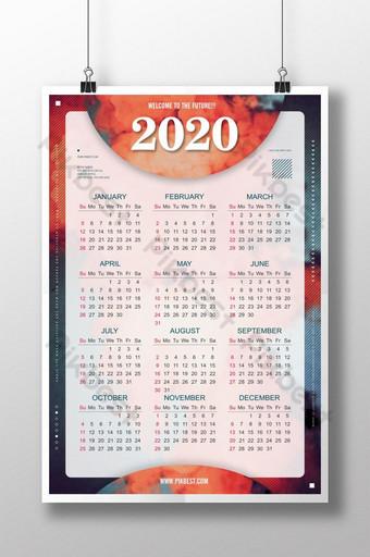 Diseño creativo del cartel retro del calendario 2020 Modelo PSD