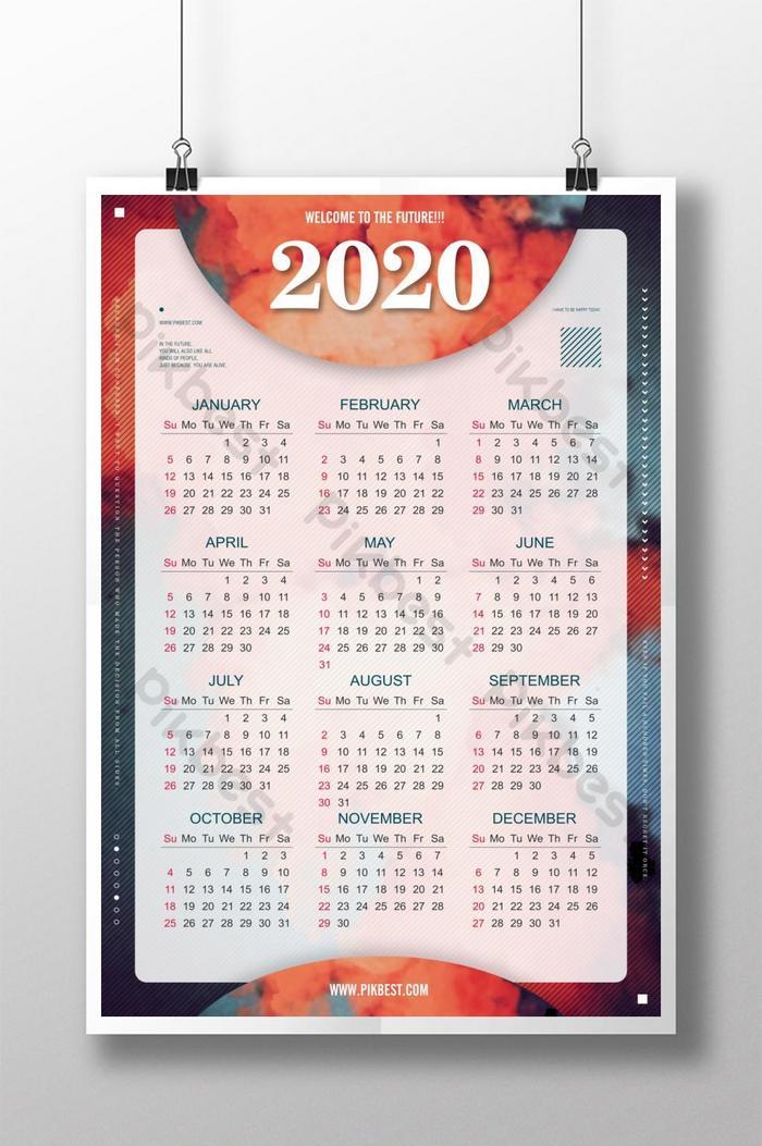 Kalender 2020 desain poster retro kreatif | templat PSD ...