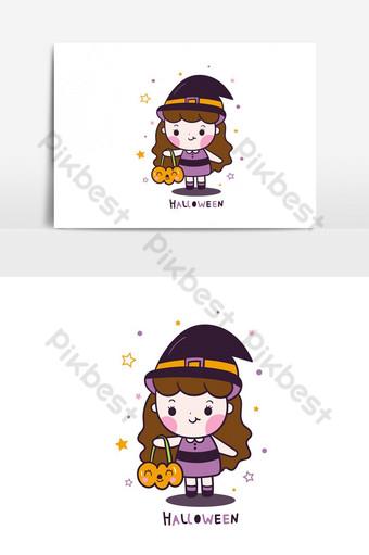 vector de chica de halloween kawaii con dibujos animados de cubo de calabaza con elemento gráfico de vector de estrella Elementos graficos Modelo AI