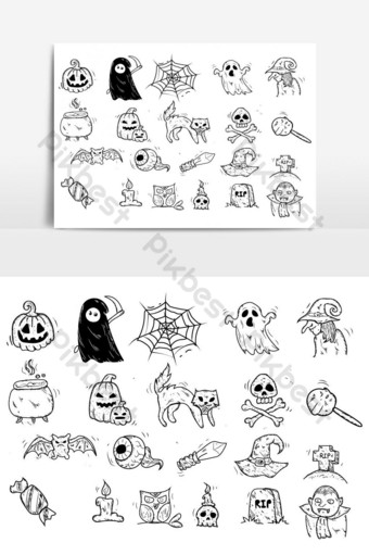 set of drawing icon halloween doodle vector graphic element PNG Images Template EPS