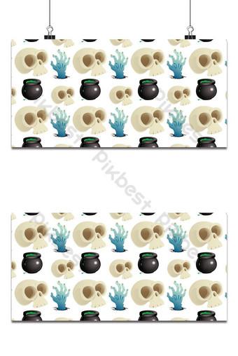 Patrón sin fisuras de vacaciones de Halloween con fondo de iconos variados Fondos Modelo EPS