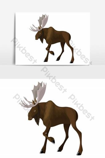 Icône de renne sauvage couleur dessin animé esquisse design moderne élément graphique vectoriel Éléments graphiques Modèle AI