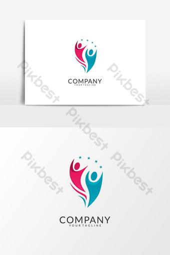 elemento gráfico de vector de diseño de logotipo de comunidad de atención de salud de personas simples Elementos graficos Modelo AI