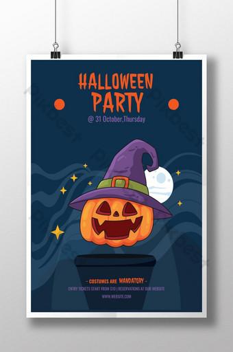 Conception d'affiche exclusive pour la fête d'Halloween Modèle AI