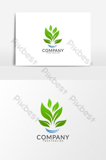 أوراق خضراء طبيعية شعار ناقلات عنصر الرسم صور PNG قالب AI