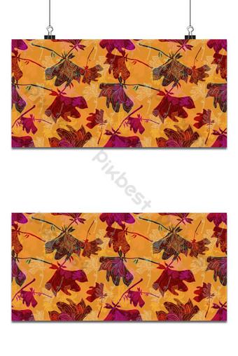 Pequeño patrón floral transparente flores de magnolia y hojas de fondo rojo exótico Fondos Modelo EPS