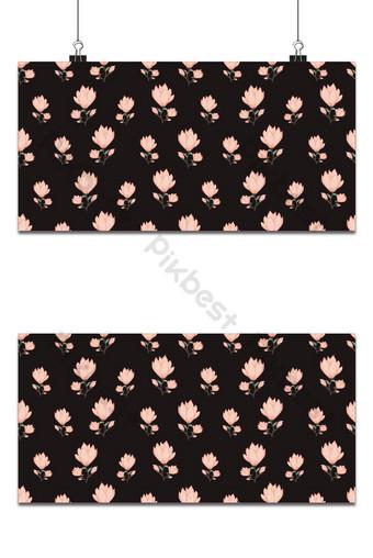 Seamless pequeño patrón floral magnolia flores y hojas exótico fondo oscuro Fondos Modelo EPS