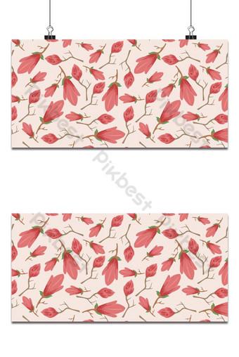 Pequeño patrón floral sin fisuras magnolia flores y hojas exótico fondo rosa Fondos Modelo EPS