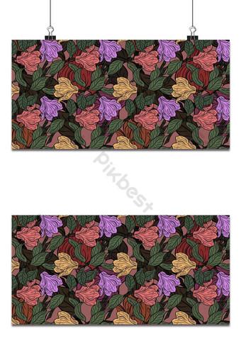 Seamless patrón floral pequeño magnolia flores y hojas de fondo surtido exótico Fondos Modelo EPS