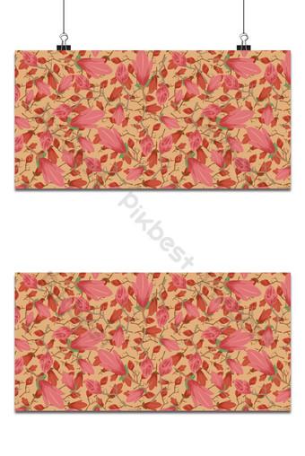 Pequeño patrón floral transparente flores de magnolia y hojas de fondo de arce exótico Fondos Modelo EPS