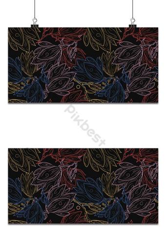 pequeña magnolia floral lindo patrón sin costuras fondo de estilo oscuro Fondos Modelo EPS