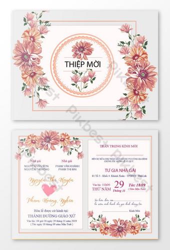 Carte d'invitation de mariage de luxe élégant Modèle AI