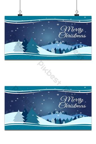 Paysage de design plat de saison d'hiver avec fond de bonne année arbre de Noël Fond Modèle AI
