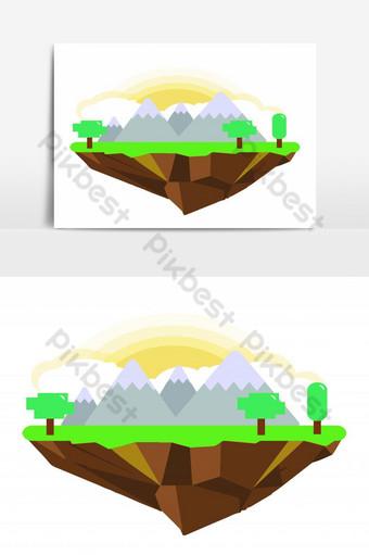 جزيرة الرسم باليد مع شجرة الجبال في عنصر الرسم ناقلات يوم مشمس صور PNG قالب EPS