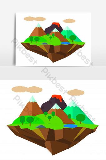 جزيرة الرسم باليد مع جبال البركان والغابات عنصر الرسم ناقلات صور PNG قالب EPS
