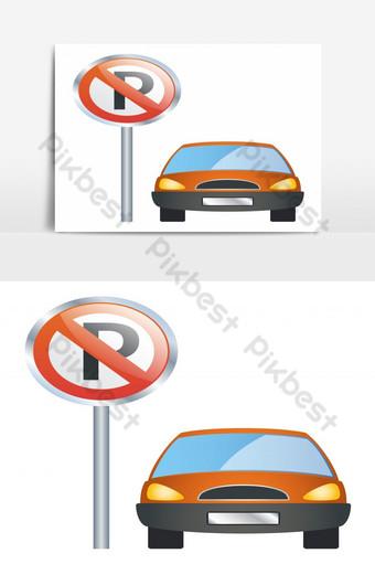 No hay señal de restricción de estacionamiento con elemento gráfico de vector aislado de coche de color naranja Elementos graficos Modelo EPS