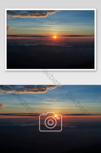 Beautiful landscape in mountains with sunrise photo Photo Template JPG