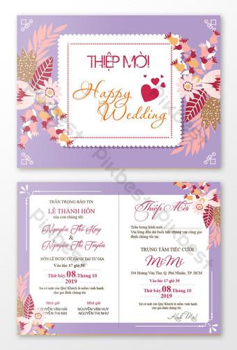 Les cartes d'invitation avec des thèmes de mariage et des tons violets sont pour l'exhaustivité Modèle AI