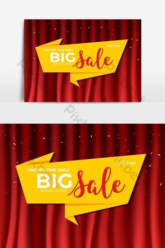 penjualan spanduk template origami dengan tata letak promosi diskon latar belakang tirai merah Elemen Grafis Templat PSD
