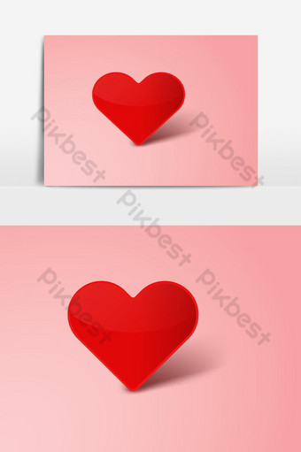 día de san valentín con corazón papel cortado fondo decorativo corazón rojo amor Elementos graficos Modelo PSD