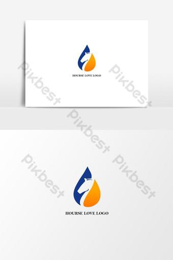 elemento gráfico de vetor de logotipo de amor de cavalo Elementos gráficos Modelo AI